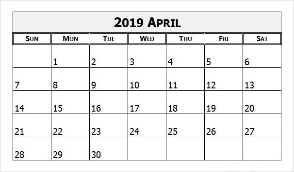April 2019 Calendar Printable PDF