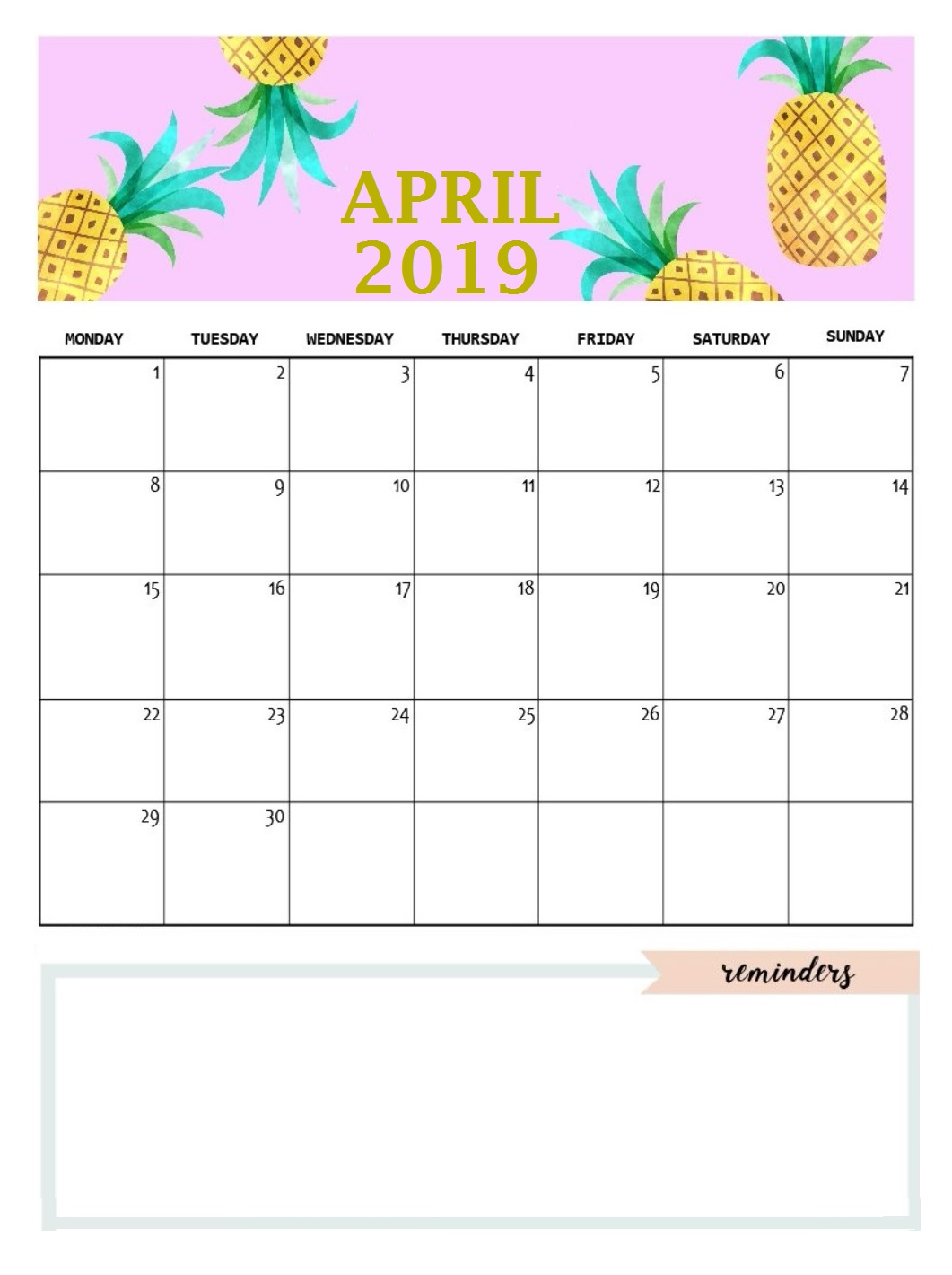 April 2019 Calendar Template Design