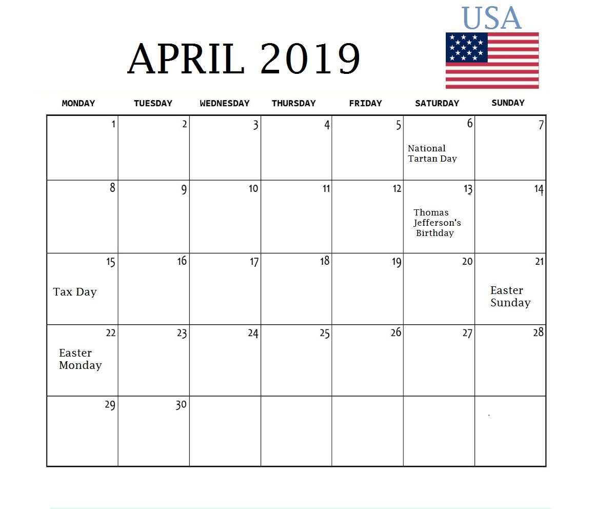 April 2019 Calendar US Holidays