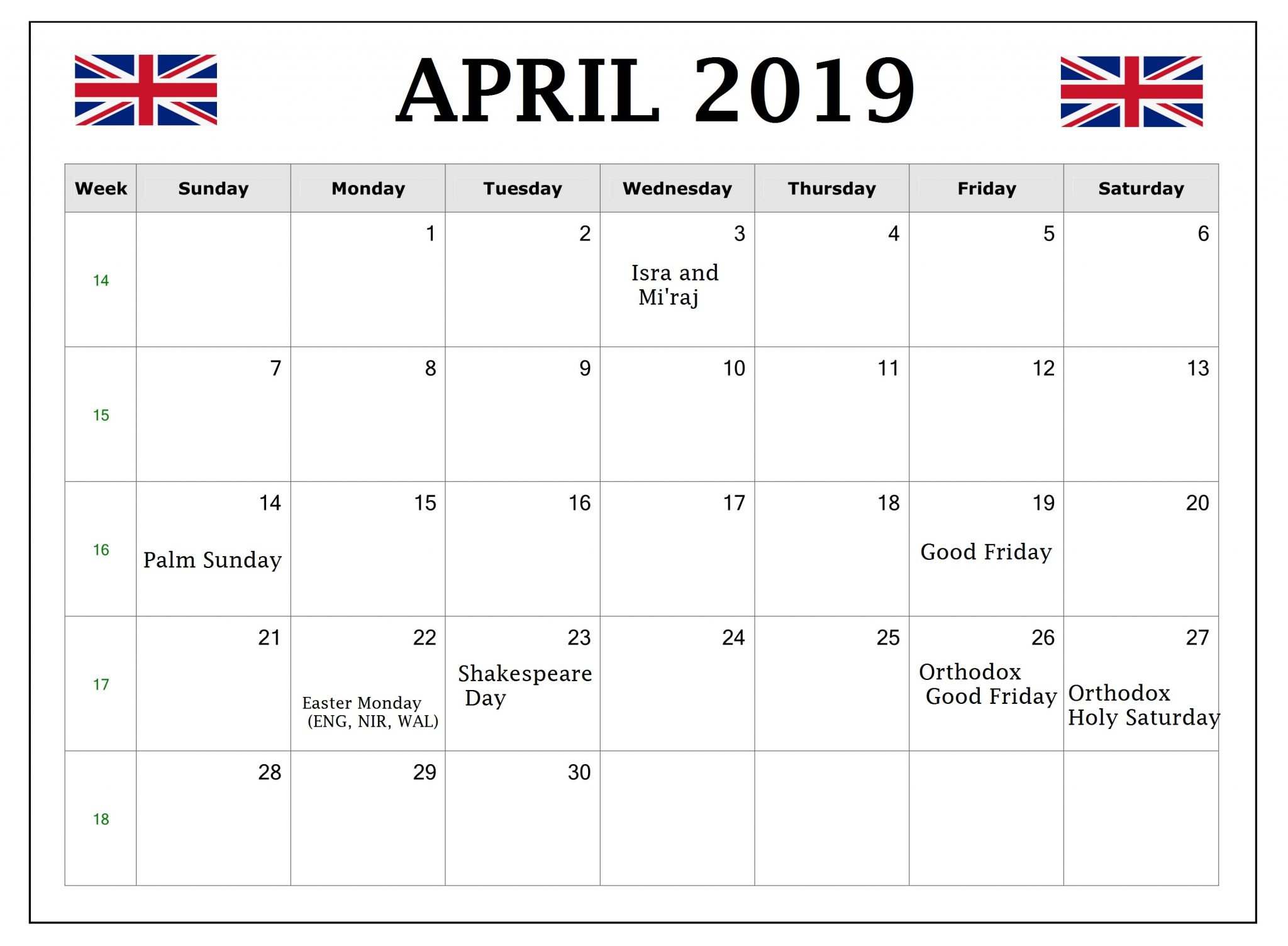 April 2019 Calendar United Kingdom