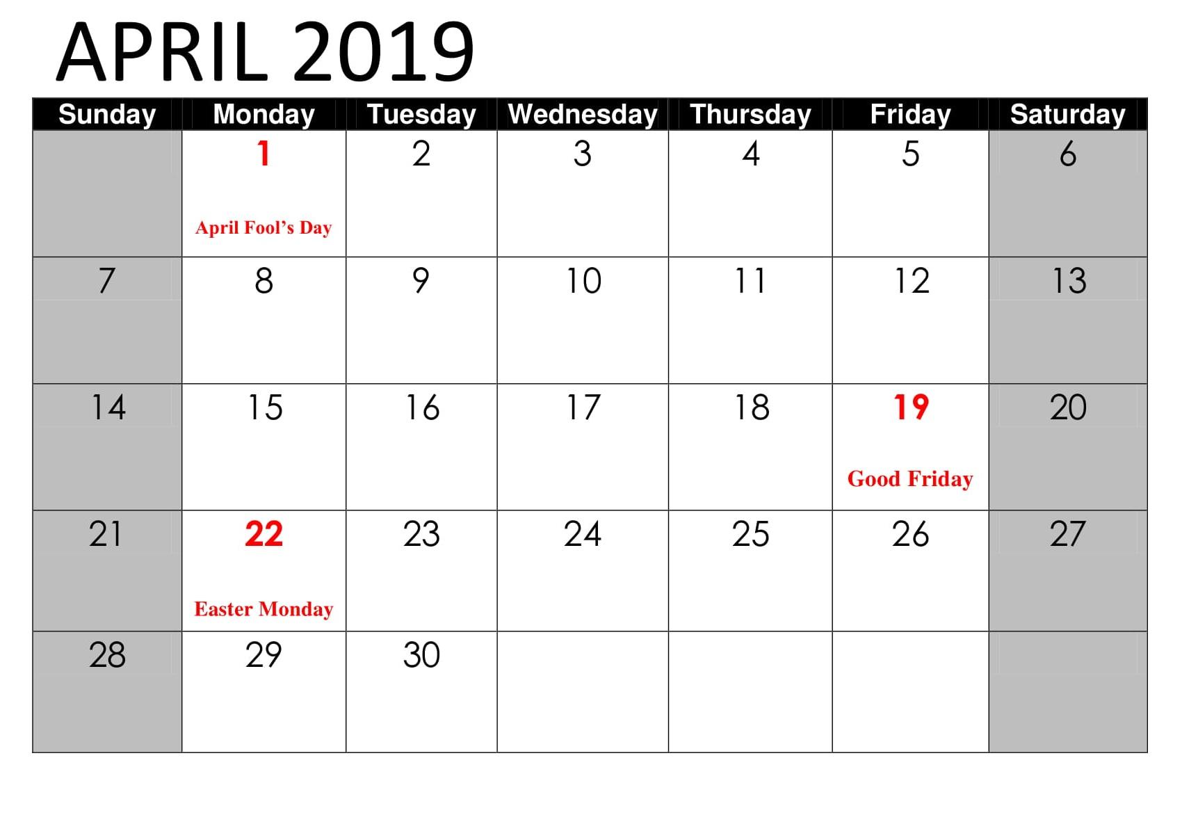 April 2019 Calendar With Holidays India