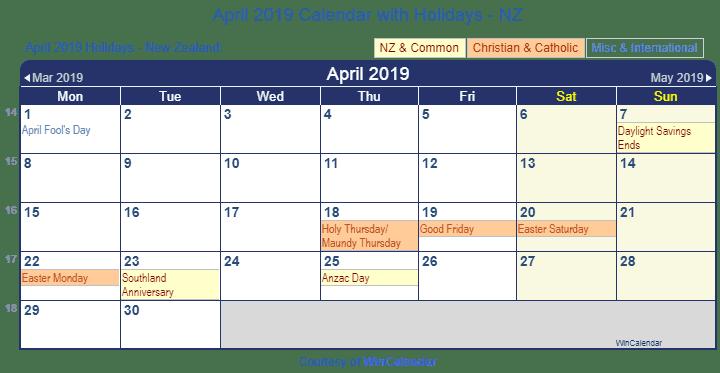 April 2019 Calendar With Holidays NZ