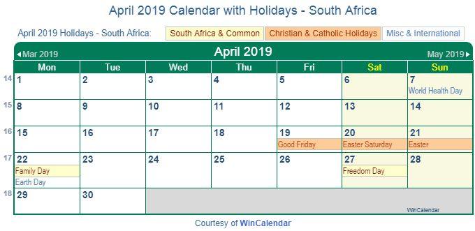 April 2019 Calendar With Holidays South Afica
