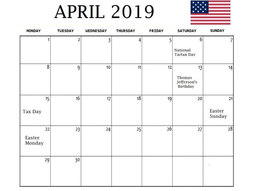 April 2019 Calendar With Holidays USA