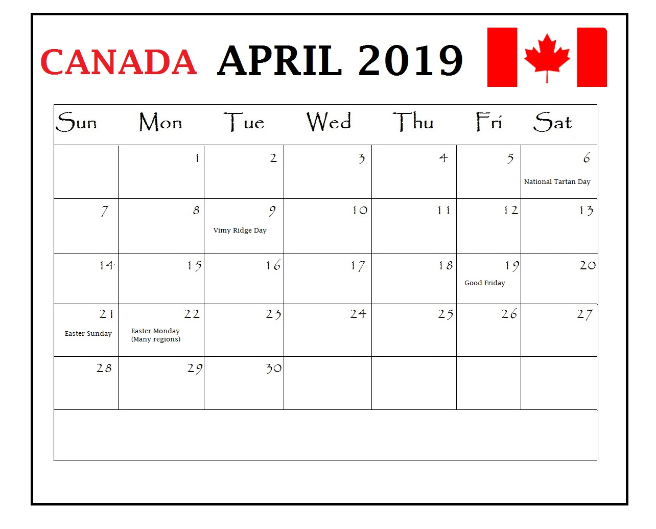 April 2019 Canada Holidays Calendar