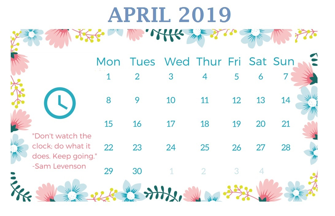 April 2019 Cute Calendar Templates