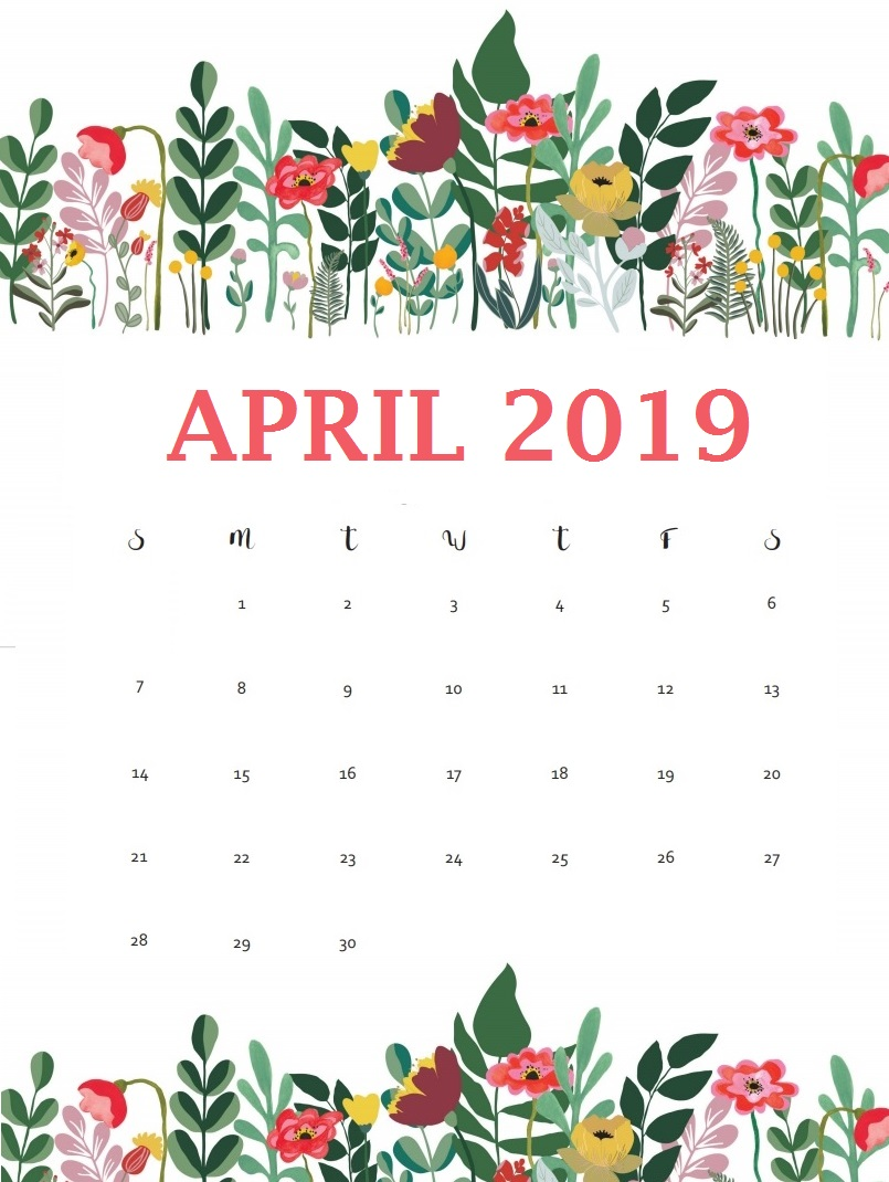 April 2019 Desk Floral Calendar