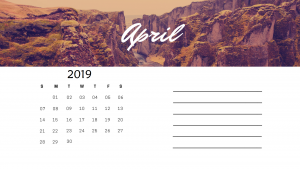 April 2019 Desk Photo Calendar