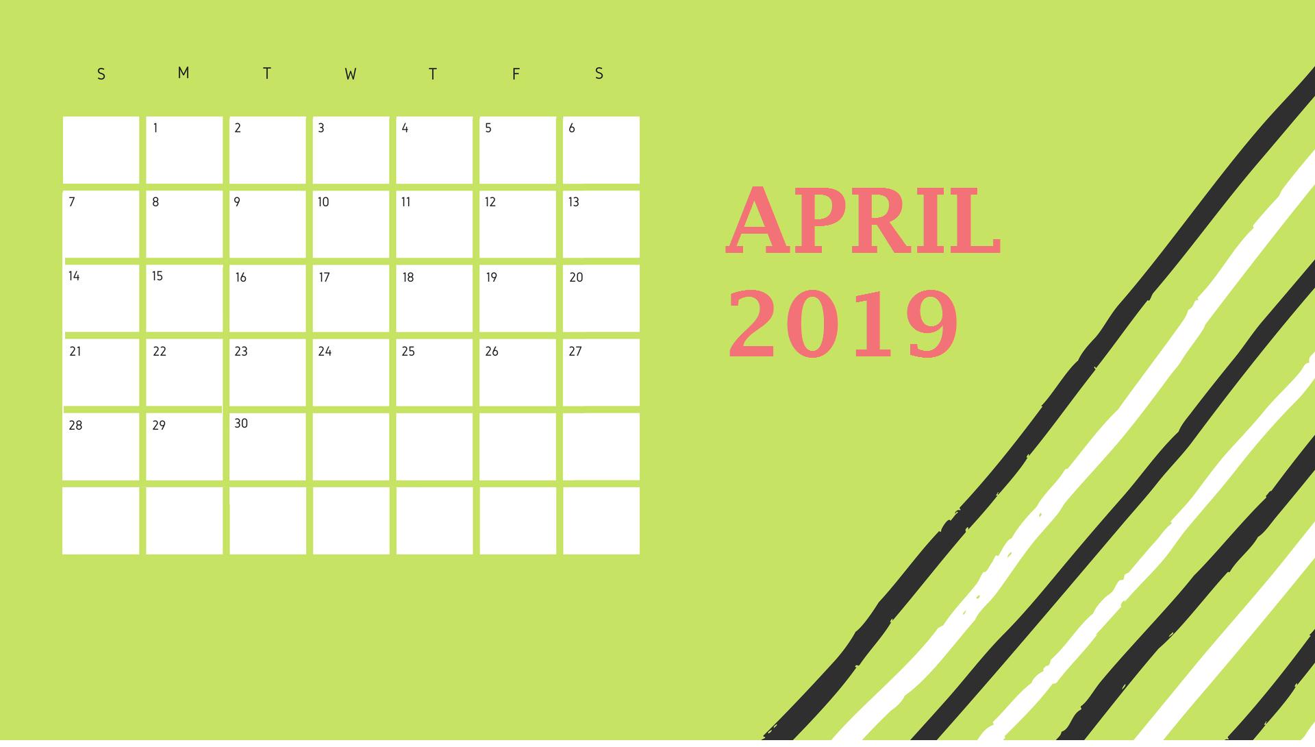 April 2019 Desk Printable Calendar