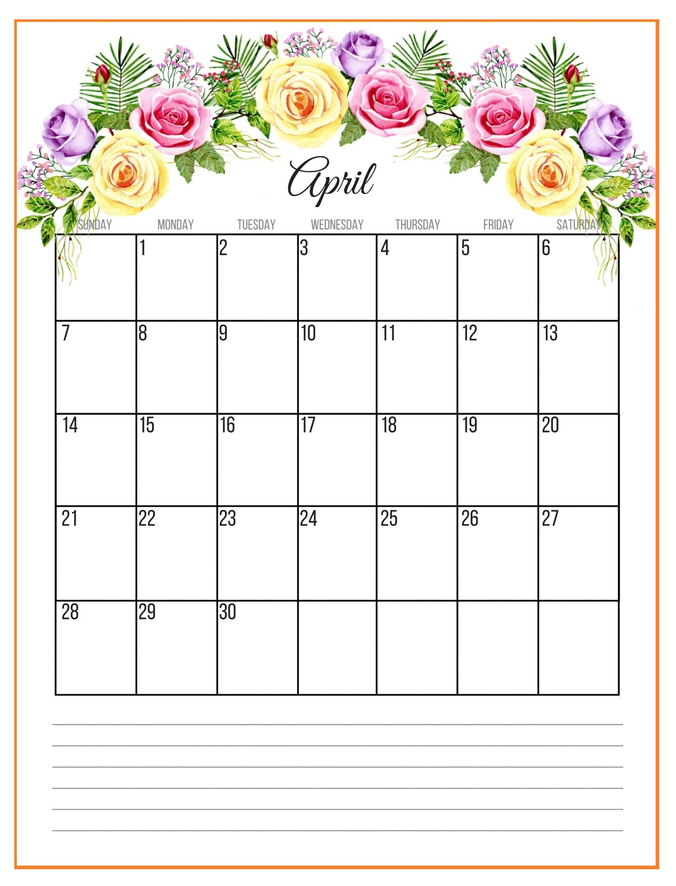 April 2019 Floral Wall Calendar