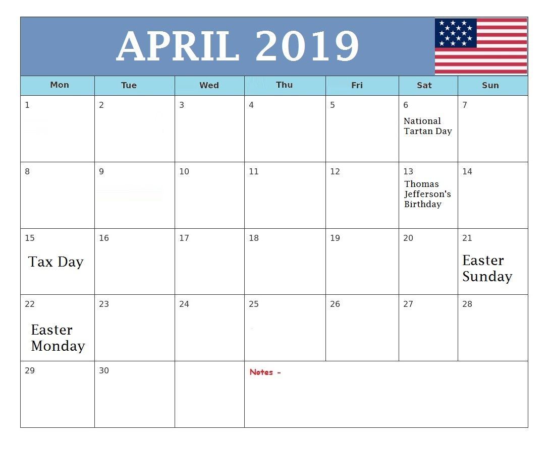 April 2019 Holidays Calendar United States