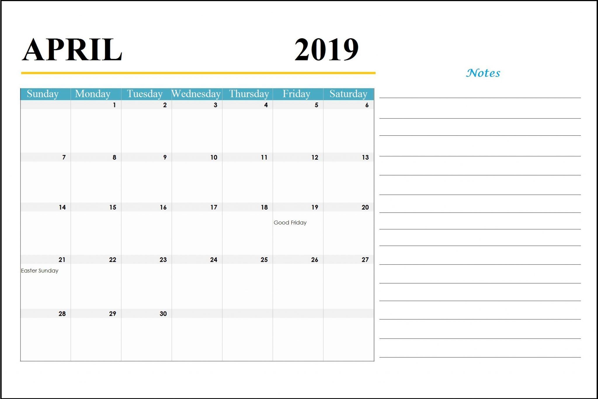 April 2019 Holidays Calendar