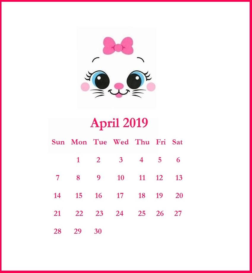 April 2019 Home Wall Calendar