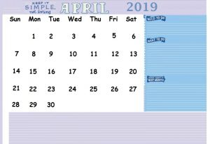 April 2019 Office Desk Calendar