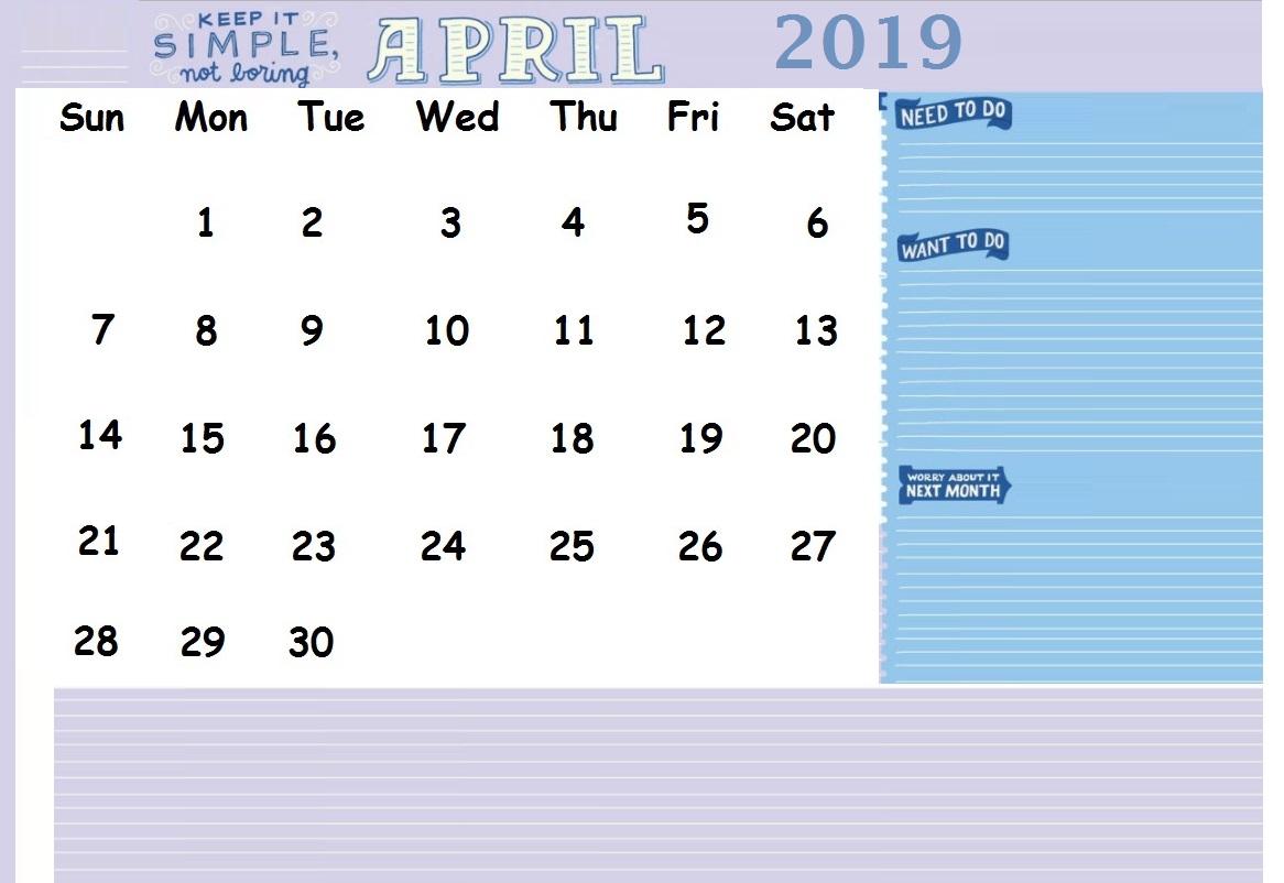 April 2019 Office Desk Calendar