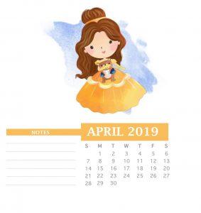 April 2019 Office Table Calendar