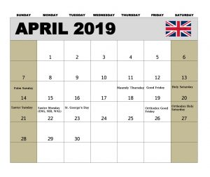 April 2019 UK Holidays Calendar