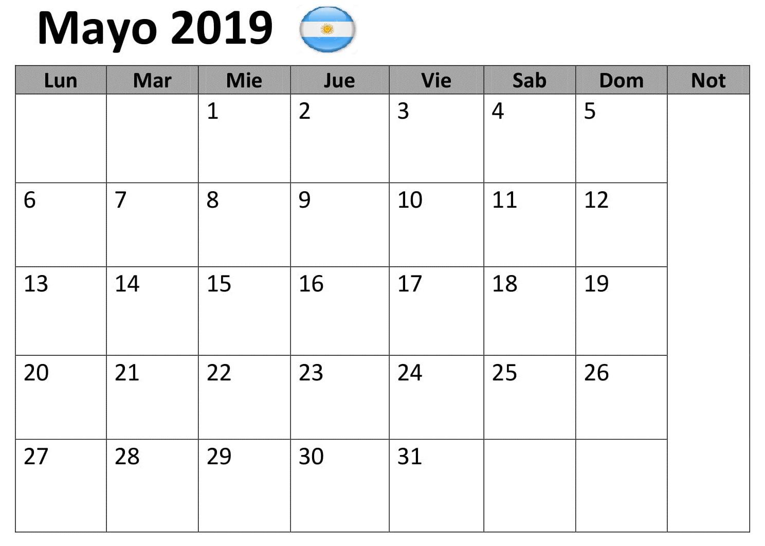 Argentina Calendario Mayo 2019 Titulo