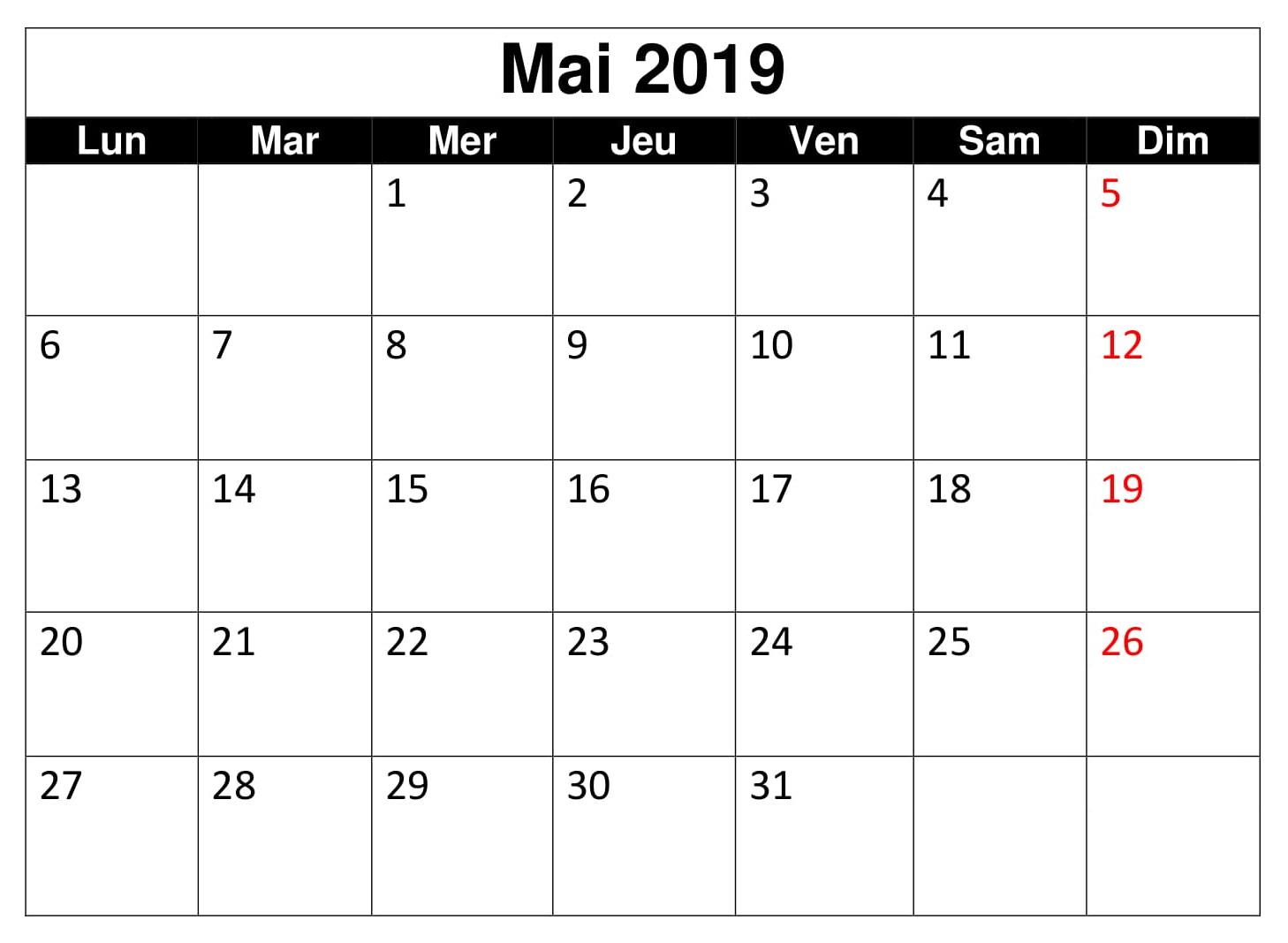 Blanc Calendrier 2019 Mai
