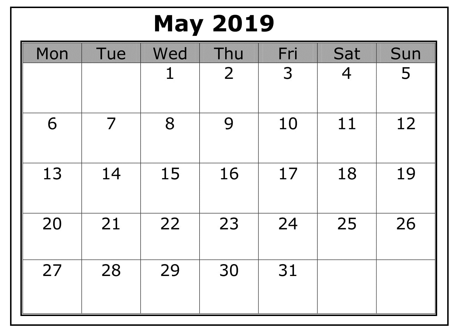 Blank Business May 2019 Calendar