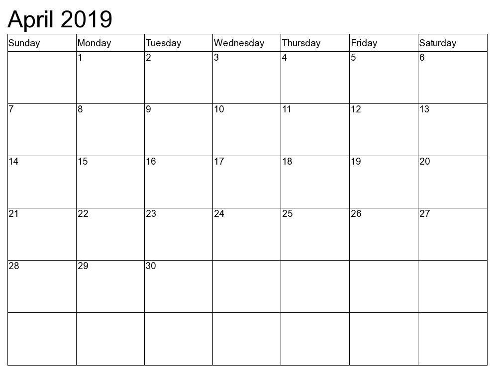Blank Calendar April 2019
