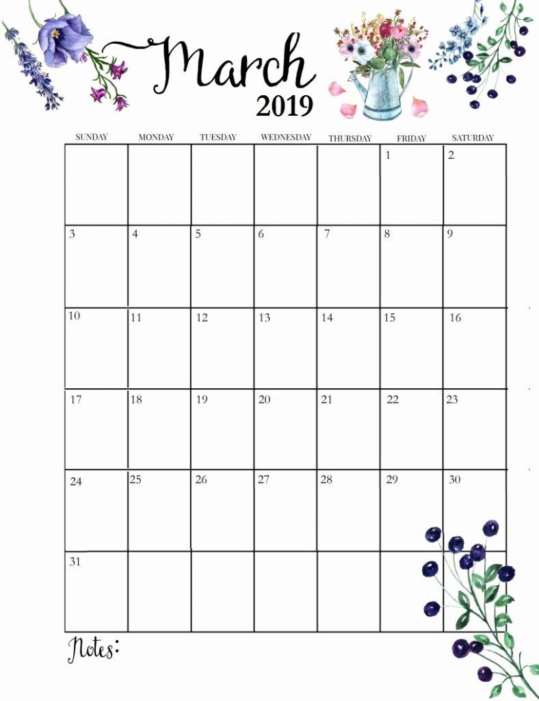 Blank Calendar March 2019 Floral