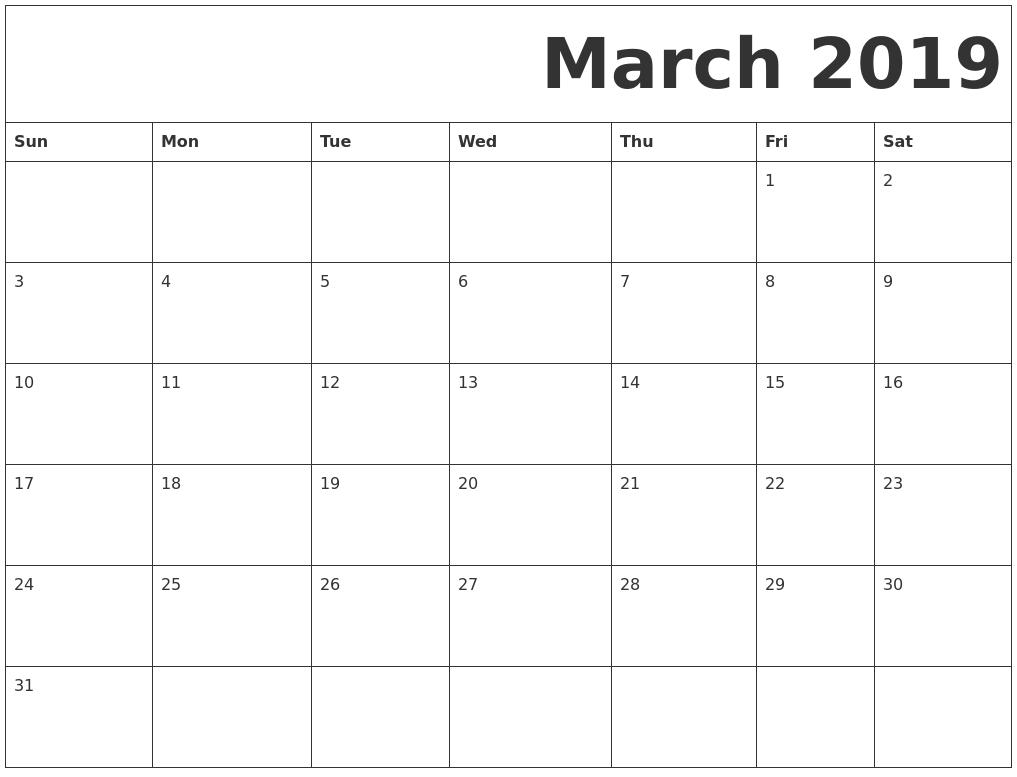 Blank Calendar March 2019