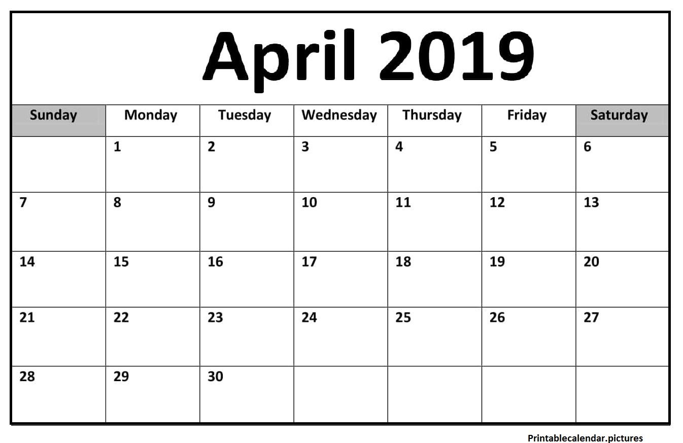Blank Calendar Pages April 2019