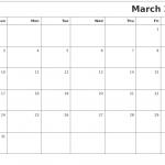 Blank Calendar Template March 2019