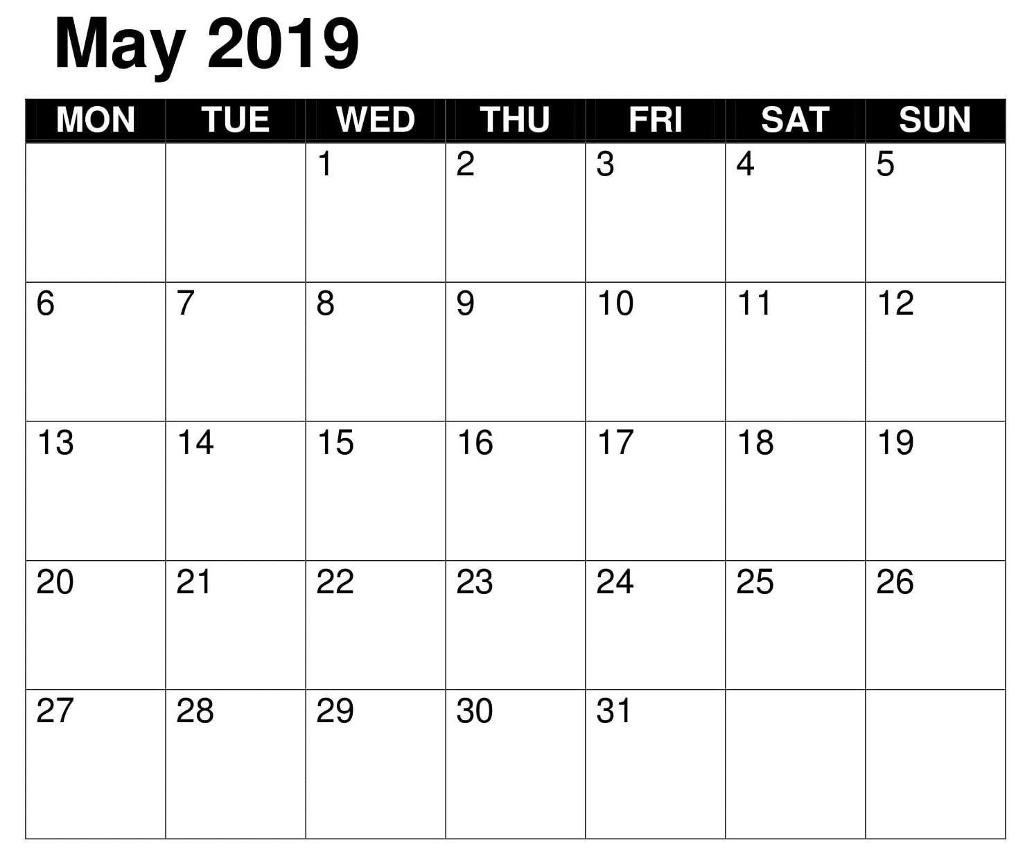 Blank May Calendar 2019 Word