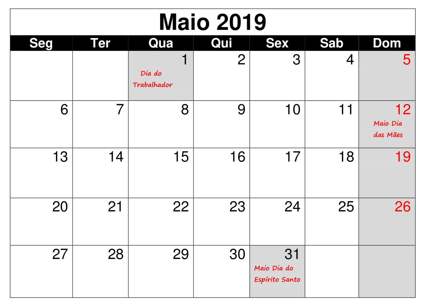Calendário 2019 Editavel Maio