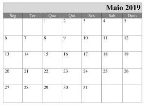 Calendário 2019 Pormes Maio