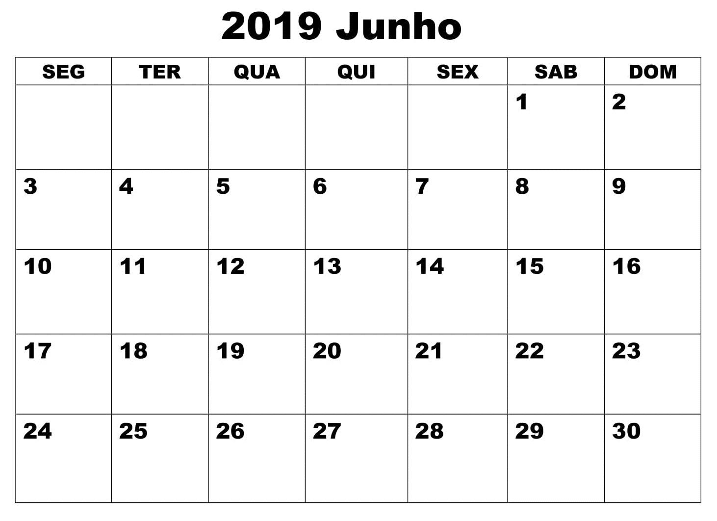 Calendário Junho 2019 Livre Para Imprimir