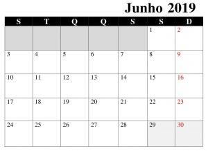 Calendário Junho Imprimivel 2019