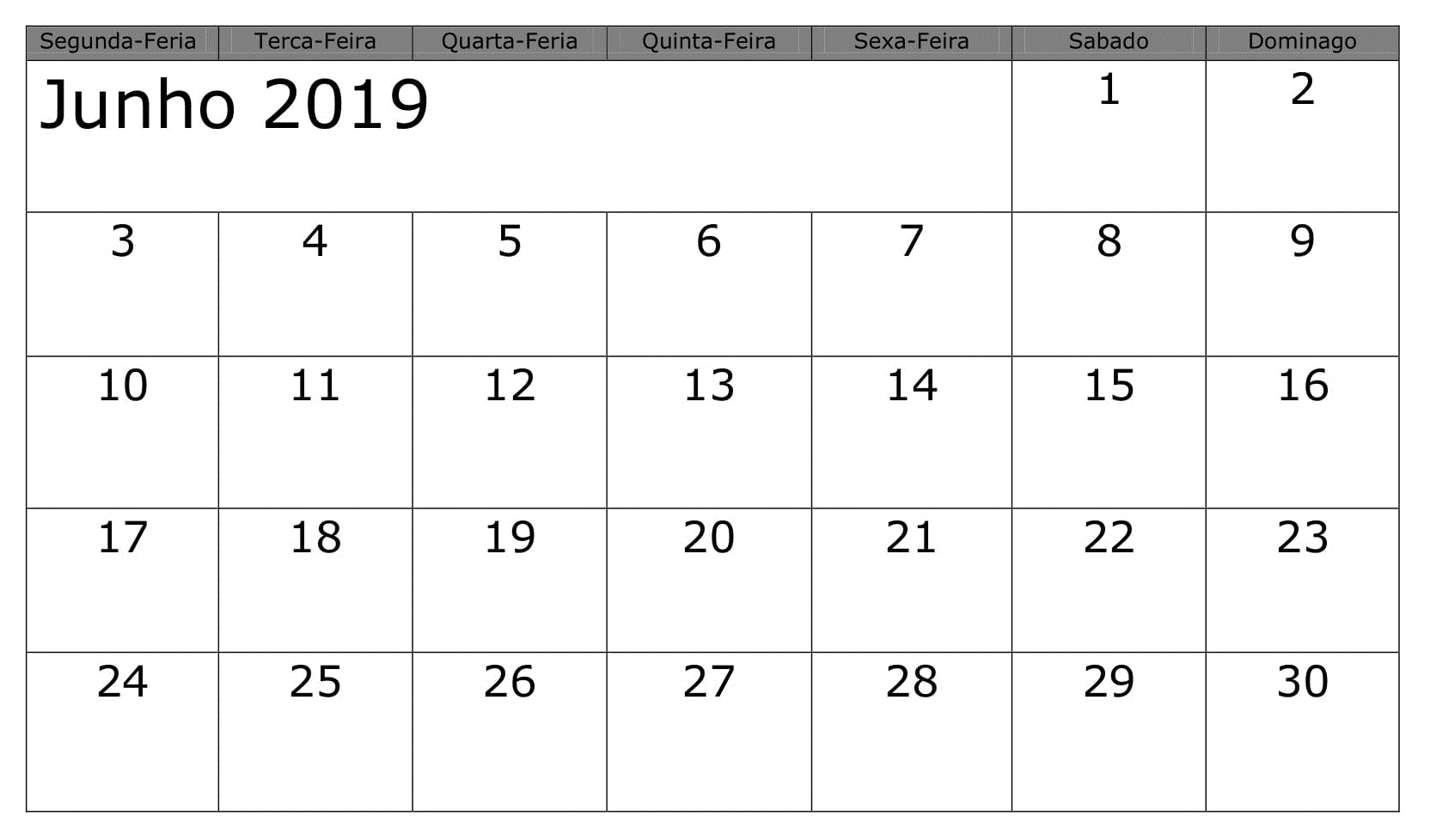 Calendário Junho Notas Para Imprimir 2019