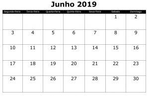 Calendário Junho PDF 2019
