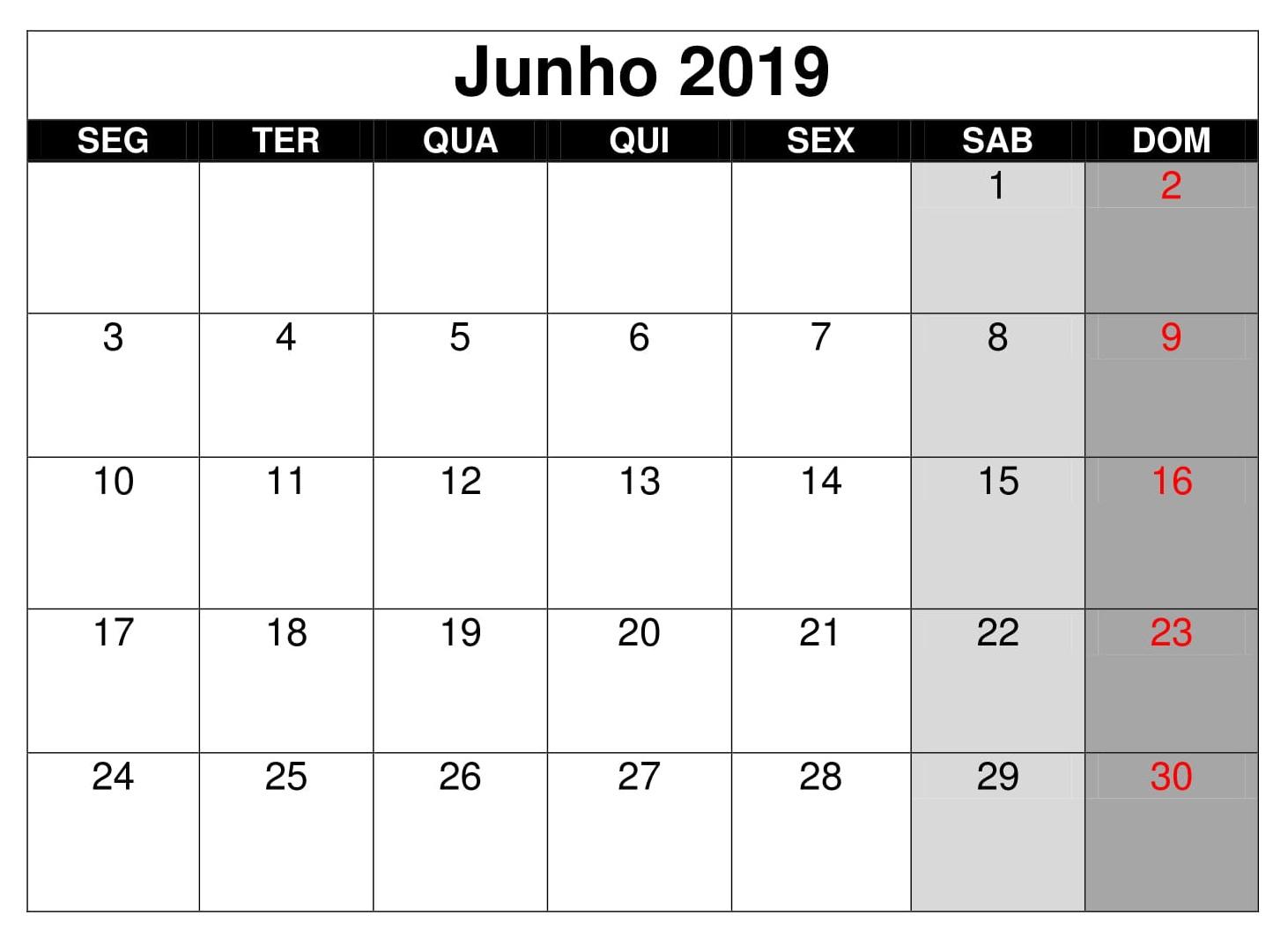 Calendário Junho Para Imprimir 2019 Excel