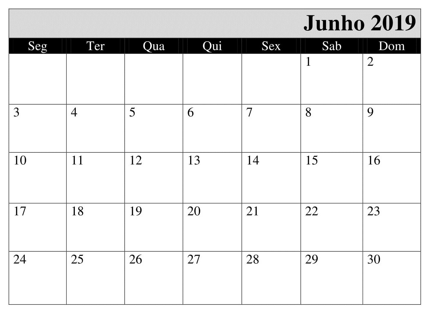 Calendário Junho Para Imprimir 2019 Word