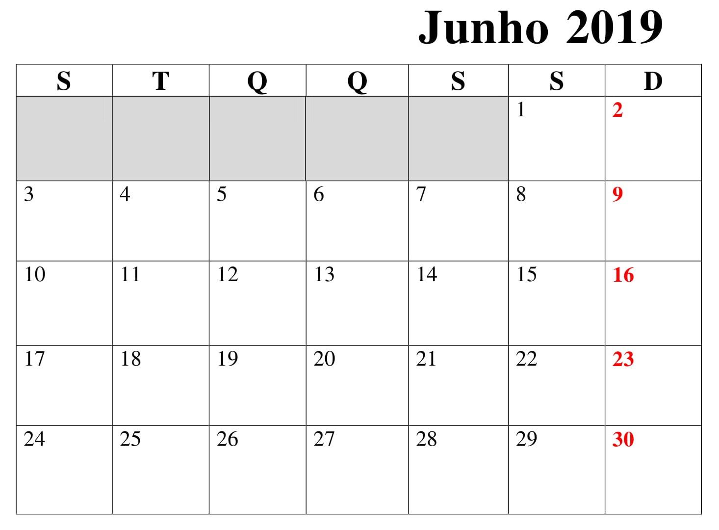 Calendário Junho Titulo 2019 Para Imprimir