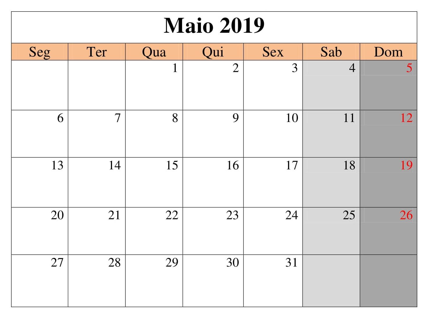 Calendário Titulo 2019 Maio