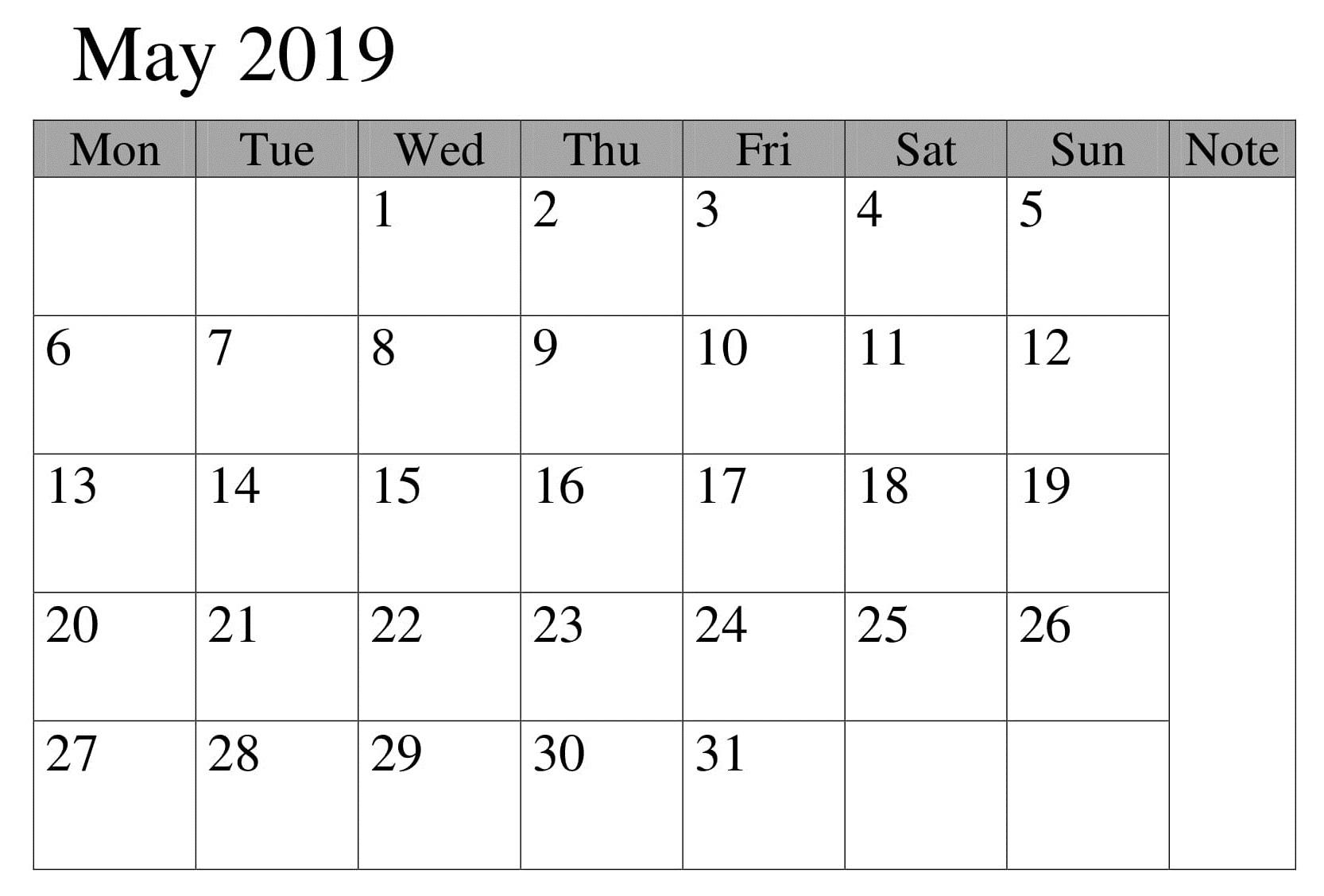 Calendar Blank May 2019 Printable