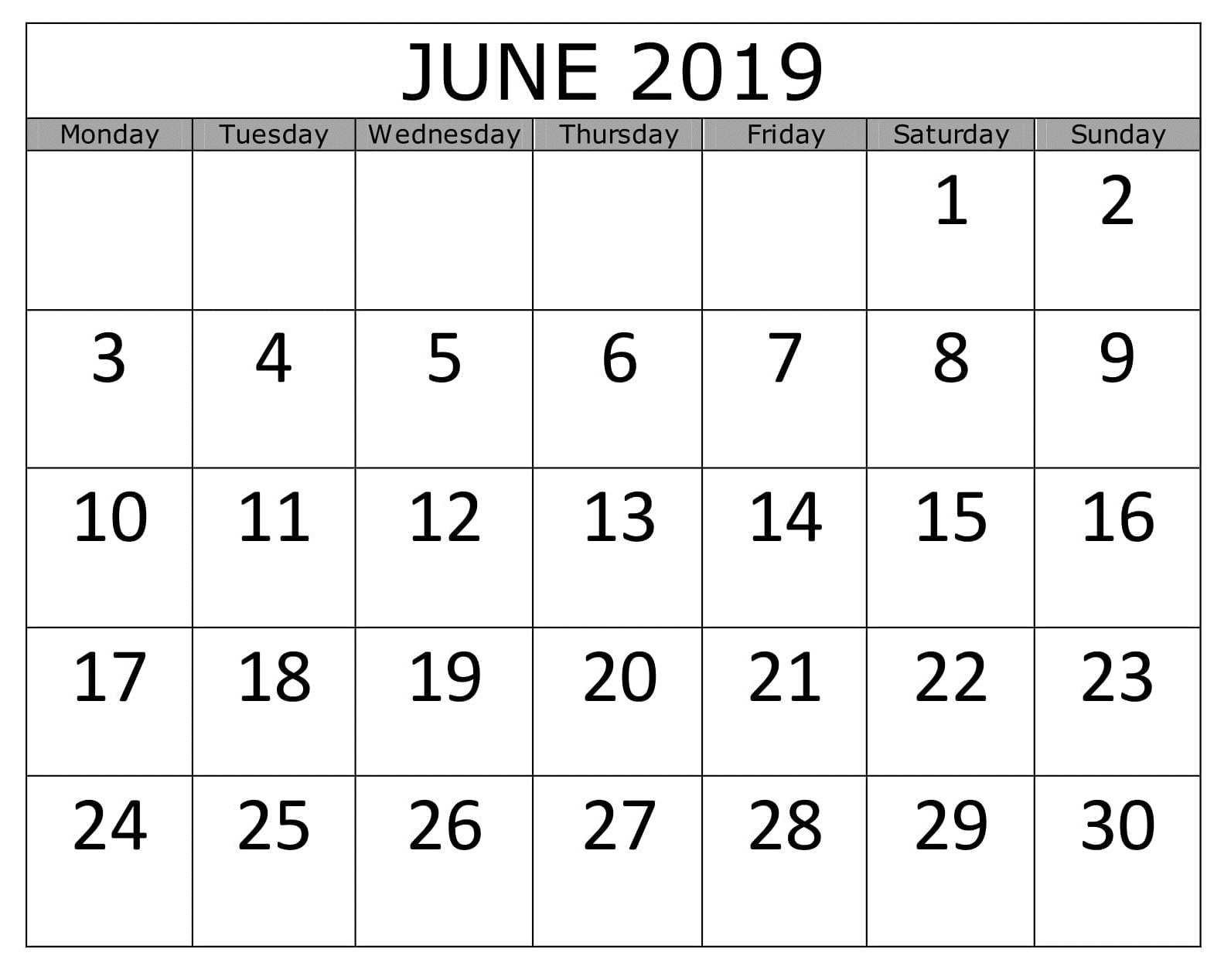 Calendar June 2019 Business Printable
