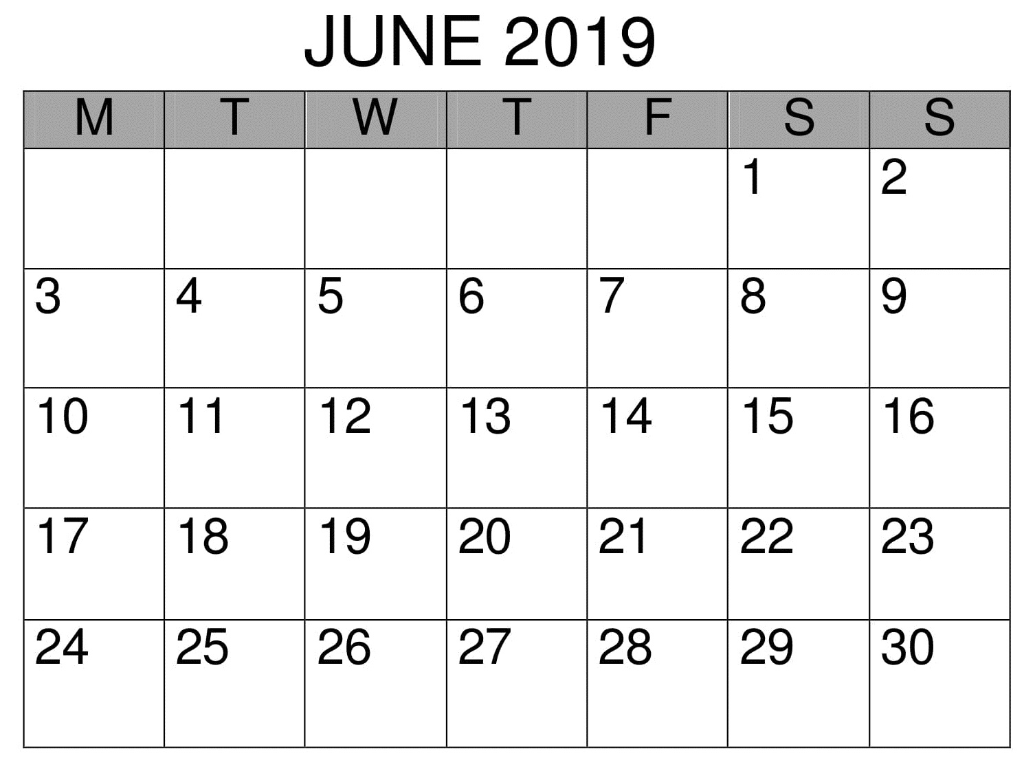 Calendar June 2019 Business Template