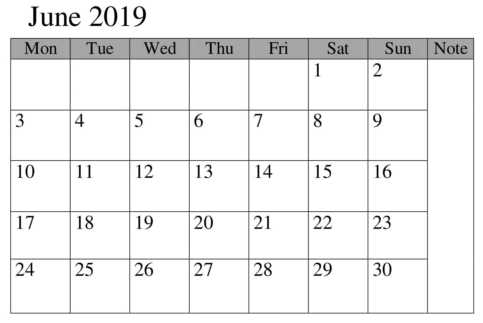 Calendar June 2019 Planer Printable