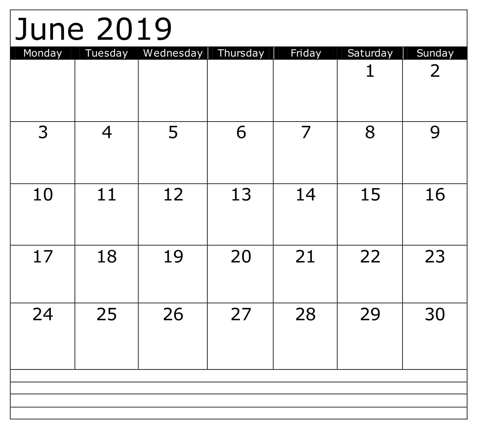 Calendar June 2019 Printable Template