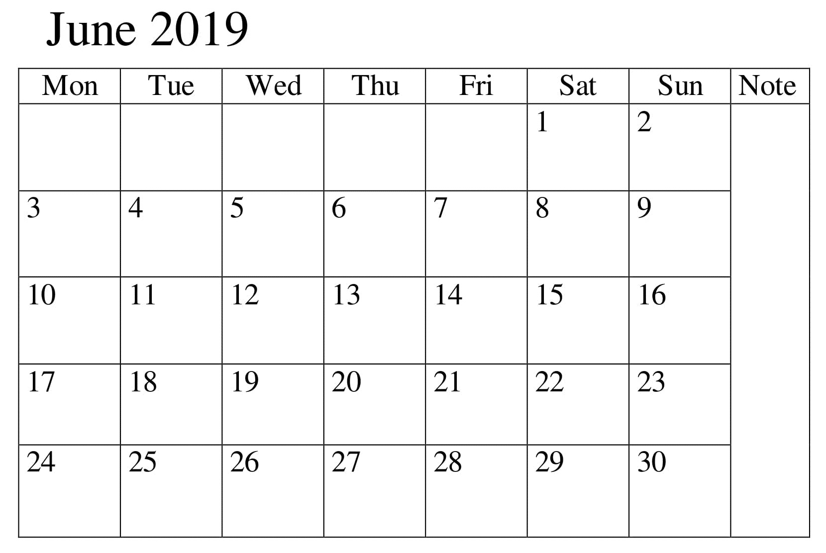Calendar June 2019 Template Excel