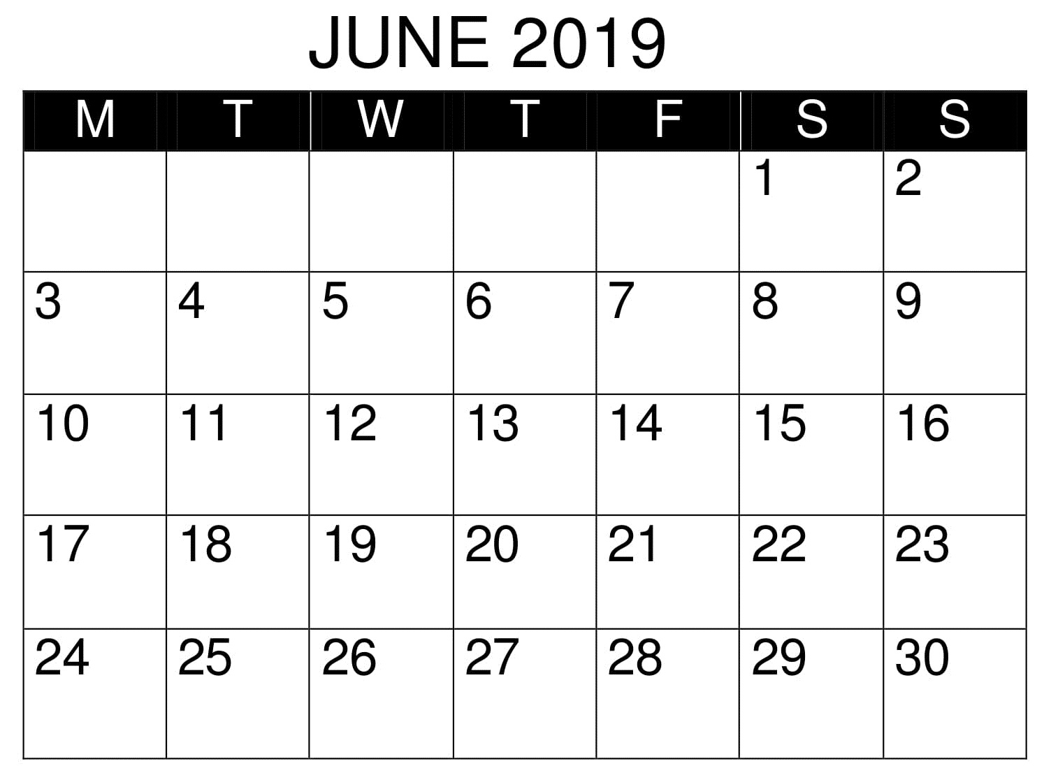Calendar June 2019 Template Printable