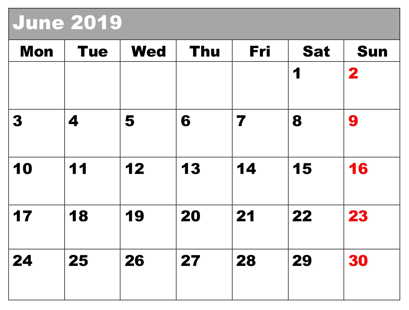 Calendar June 2019 Template Word