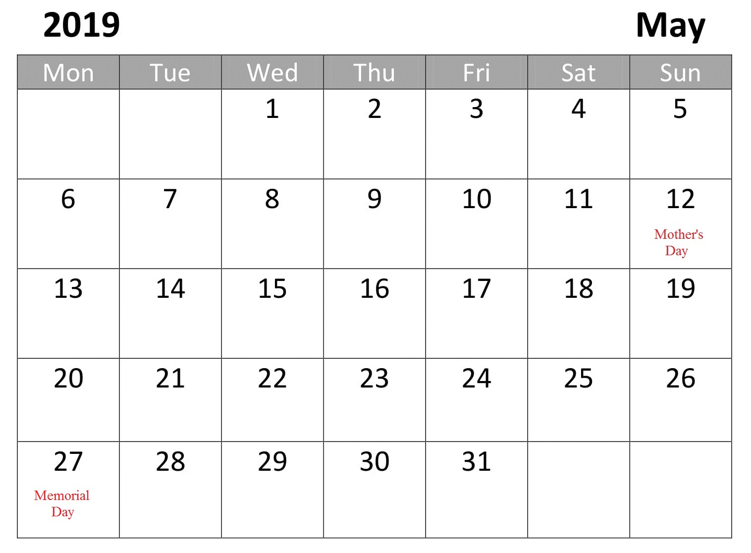 Calendar May 2019 Free With Holidays