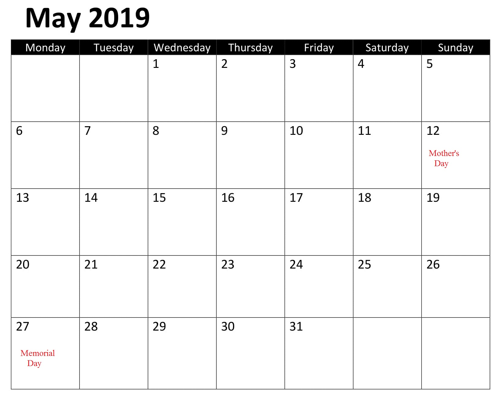 Calendar May 2019 Template With Holidays